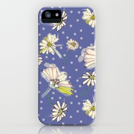 Summer  Daisies with purple and polkadots iPhone Case