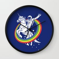 unicorns Wall Clocks featuring Epic Combo #23 by Jonah Makes Artstuff