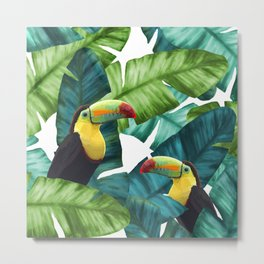 Toucans Tropical Banana Leaves Pattern Metal Print