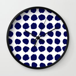 Aria - indigo brushstroke dot polka dot minimal abstract painting pattern painterly blue and white  Wall Clock