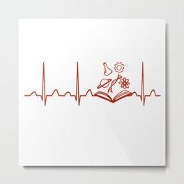 Science Teacher Heartbeat Metal Print