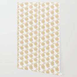 Golden floral on white 2/5 Wallpaper