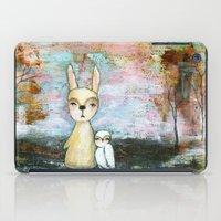 best friend iPad Cases featuring My Best Friend, Abstract Landscape Art Painting Rabbit Owl Grunge by Itaya Art
