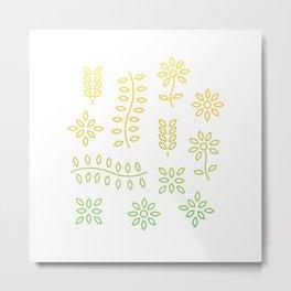 Gold Floral Lines Metal Print