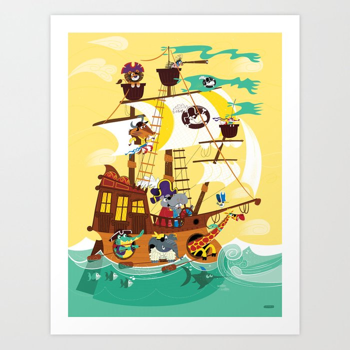 Animal Pirate Ship Art Print