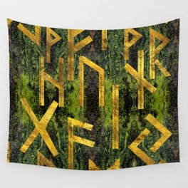 Vintage Gold Runic alphabet on tree bark Wall Tapestry