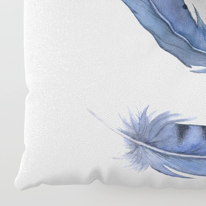 Falling Feather, Blue Jay Feather, Blue Feather watercolor painting by Suisai Genki Floor Pillow