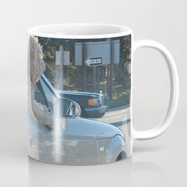 Happy dog in convertible Coffee Mug