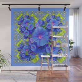 Lime-Blue Morning Glories Pattern Art Wall Mural