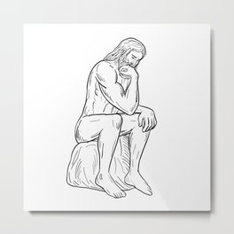 Man With Beard Sitting Thinking Drawing Black and White Metal Print