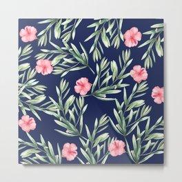 Delicate Hibiscus Blue Metal Print