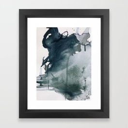 Lakeside: a minimal, abstract, watercolor and ink piece in shades of blue and green Framed Art Print