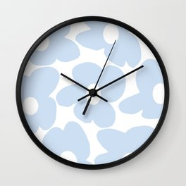 Large Baby Blue Retro Flowers White Background #decor #society6 #buyart Wall Clock