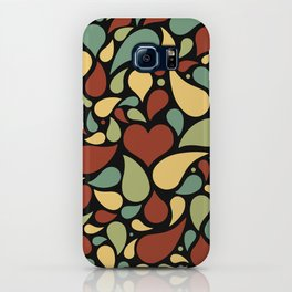 Heart surrounded by drops black pattern iPhone Case