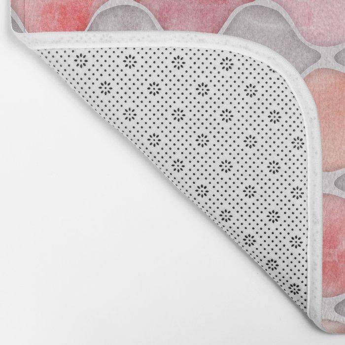 Rhythm of the Seasons - coral pink & grey Bath Mat