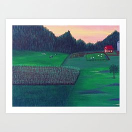 Farm landscape acrylic on canvas Art Print