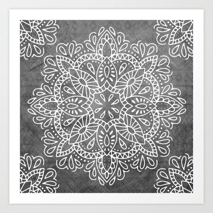 Mandala Vintage White on Ocean Fog Gray Art Print by naturemagick ...