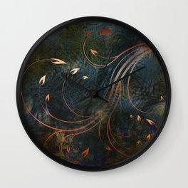 Autumn Gold Whirlwind Flames on Indigo Wall Clock