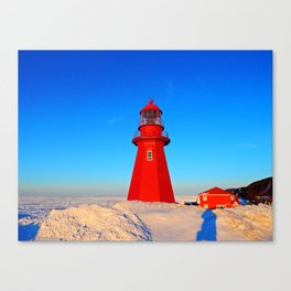 Lighthouse  and Frozen Sea Canvas Print