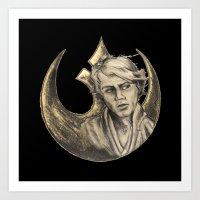 Luke Skywalker and Rebellion Insignia Art Print