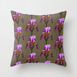 iris variations: khaki Throw Pillow