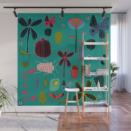 bugs and insects green Wall Mural