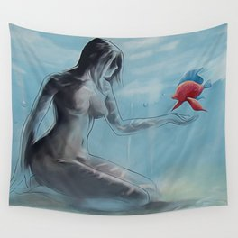 Nymph 2 - Nude woman sitting on sea floor - Red fish Wall Tapestry