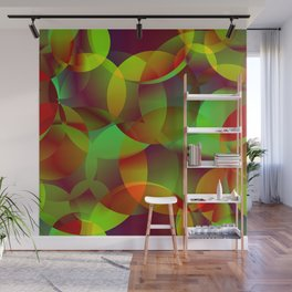 Vector abstract seamless background from space yellow and green bright circles and bubbles for fabri Wall Mural