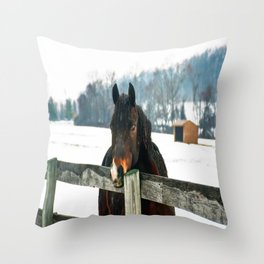 Thoughtful Horse Throw Pillow