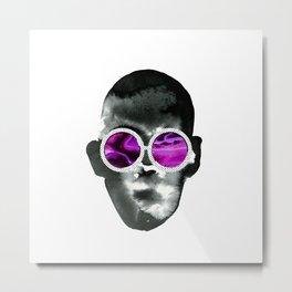 Face in glasses Metal Print