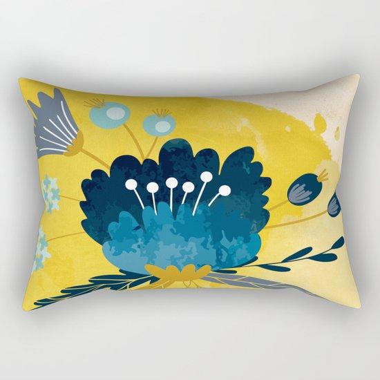 Yellow Acuarela Blue Flower Rectangular Pillow