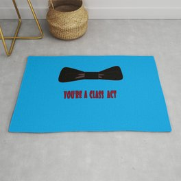 You're a Class Act with Bow and a Blue Background Rug