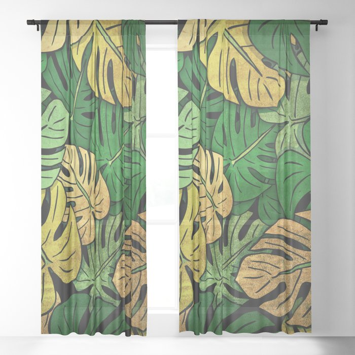 Grunge Monstera Leaves Sheer Curtain