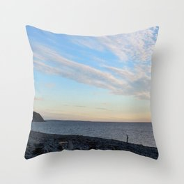 Watercolor People in Nature, NSS, Photography 02, Cape Breton, Nova Scotia, Canada Throw Pillow