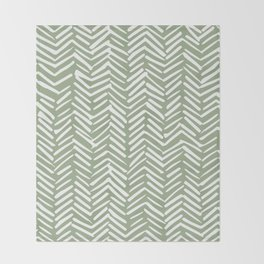 Boho Herringbone Pattern, Sage Green and White Throw Blanket