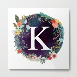 Personalized Monogram Initial Letter K Floral Wreath Artwork Metal Print