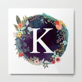 Personalized Monogram Initial Letter K Floral Wreath Artwork Metal Print