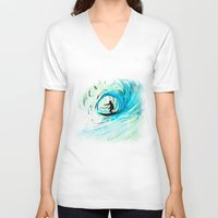 surfer V-neck T-shirts featuring Surfer by Bruce Stanfield