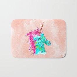 Unicorn on Peach watercolour Bath Mat