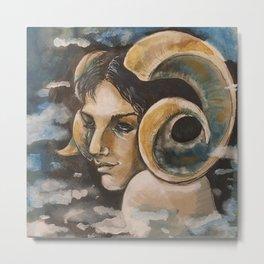 Dreamy Ram Woman Portrait - Traditional Acrylic Painting Metal Print
