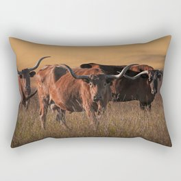 Texas Longhorn Steers on the Prairie at Sunset Rectangular Pillow