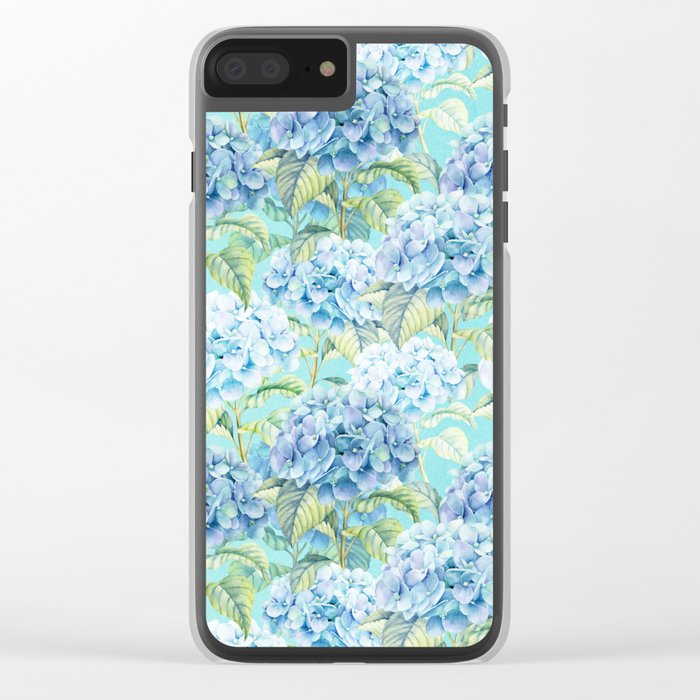 Blue floral hydrangea flower flowers Vintage watercolor pattern Clear iPhone Case