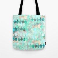 mermaid Tote Bags featuring SUMMER MERMAID by Monika Strigel