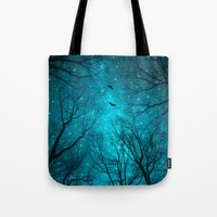 blue Tote Bags featuring Stars Can't Shine Without Darkness  by soaring anchor designs
