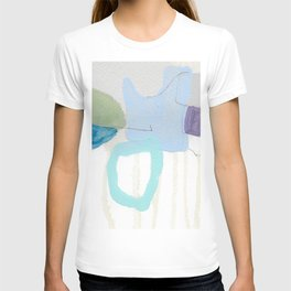 stone by stone 2 - abstract art fresh color turquoise, mint, purple, white, gray T-shirt