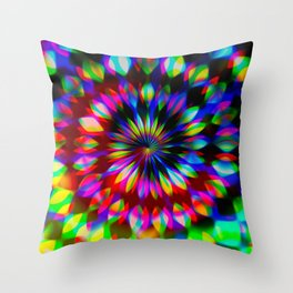 Psychedelic Rainbow Swirl Throw Pillow
