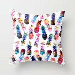 watercolor and nebula pineapples illustration pattern Throw Pillow