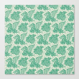 Pegasus Pattern Beige and Green Canvas Print