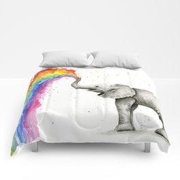 Baby Elephant Spraying Rainbow Comforters