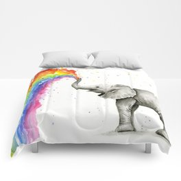 Baby Elephant Spraying Rainbow Comforters
